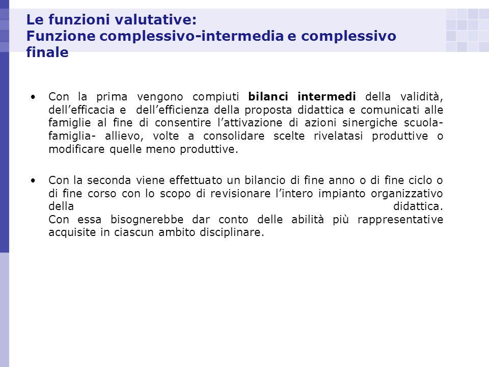 Le funzioni valutative: Funzione complessivo-intermedia e complessivo finale Con la prima vengono compiuti bilanci intermedi della validità, delleffic