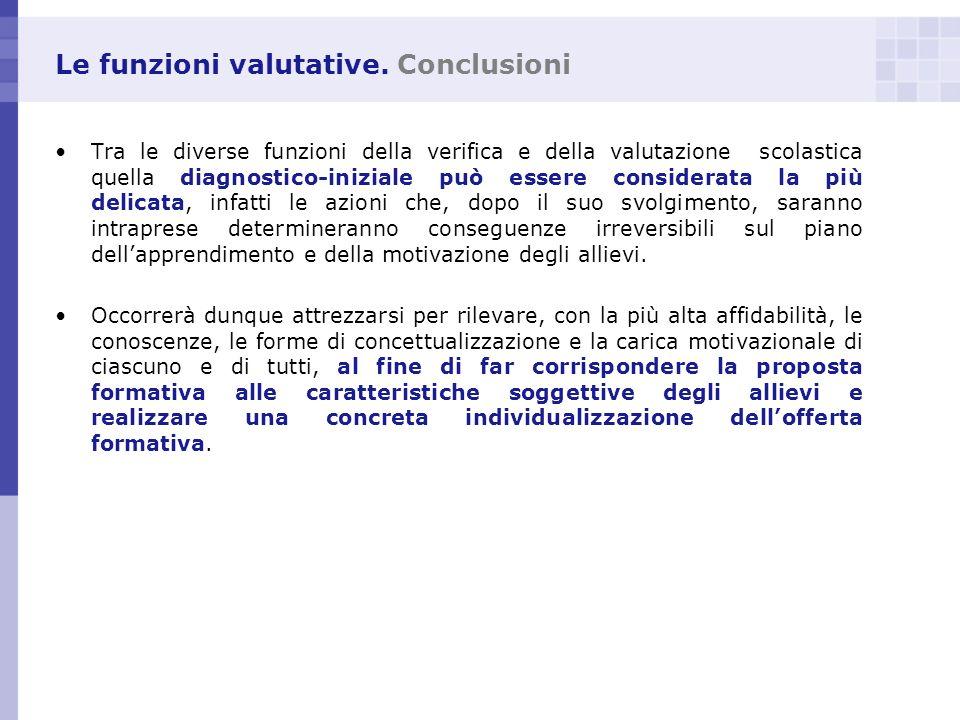 Le funzioni valutative. Conclusioni Tra le diverse funzioni della verifica e della valutazione scolastica quella diagnostico-iniziale può essere consi