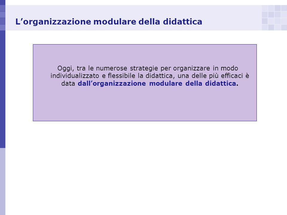 Lorganizzazione modulare della didattica Oggi, tra le numerose strategie per organizzare in modo individualizzato e flessibile la didattica, una delle