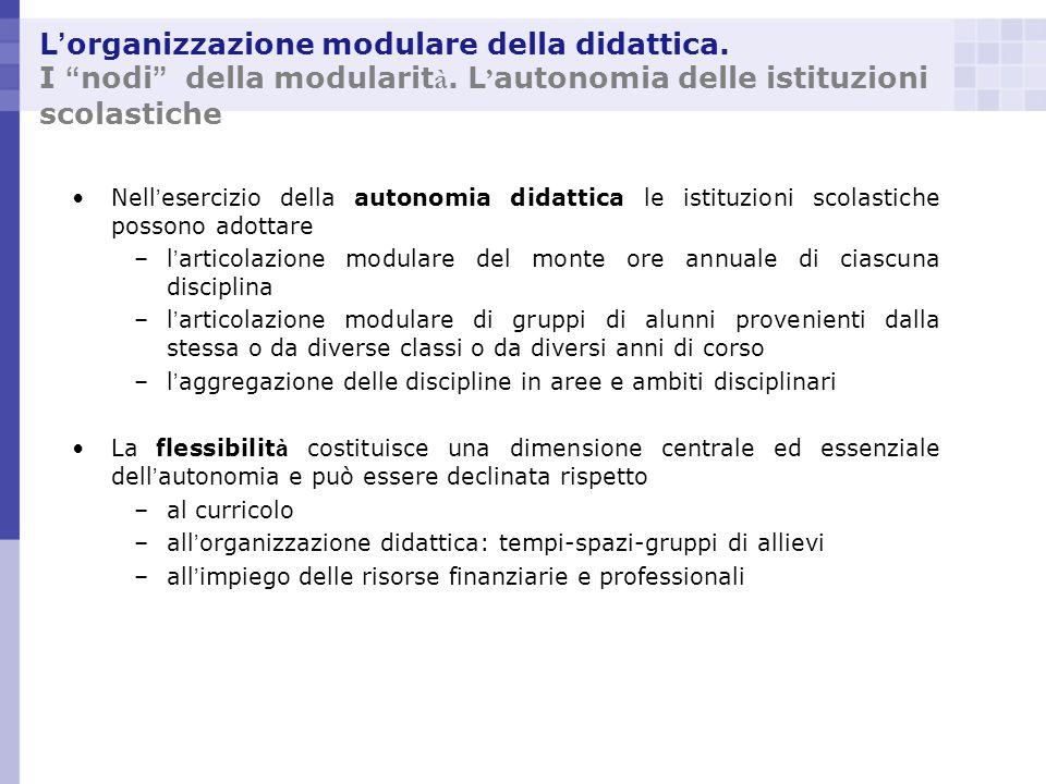 L organizzazione modulare della didattica. I nodi della modularit à. L autonomia delle istituzioni scolastiche Nell esercizio della autonomia didattic