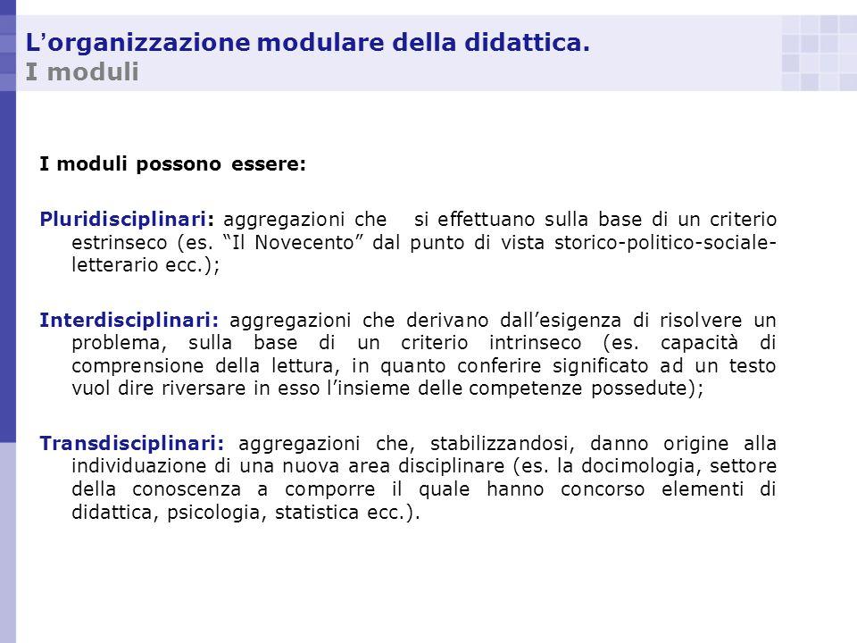 L organizzazione modulare della didattica. I moduli I moduli possono essere: Pluridisciplinari: aggregazioni che si effettuano sulla base di un criter