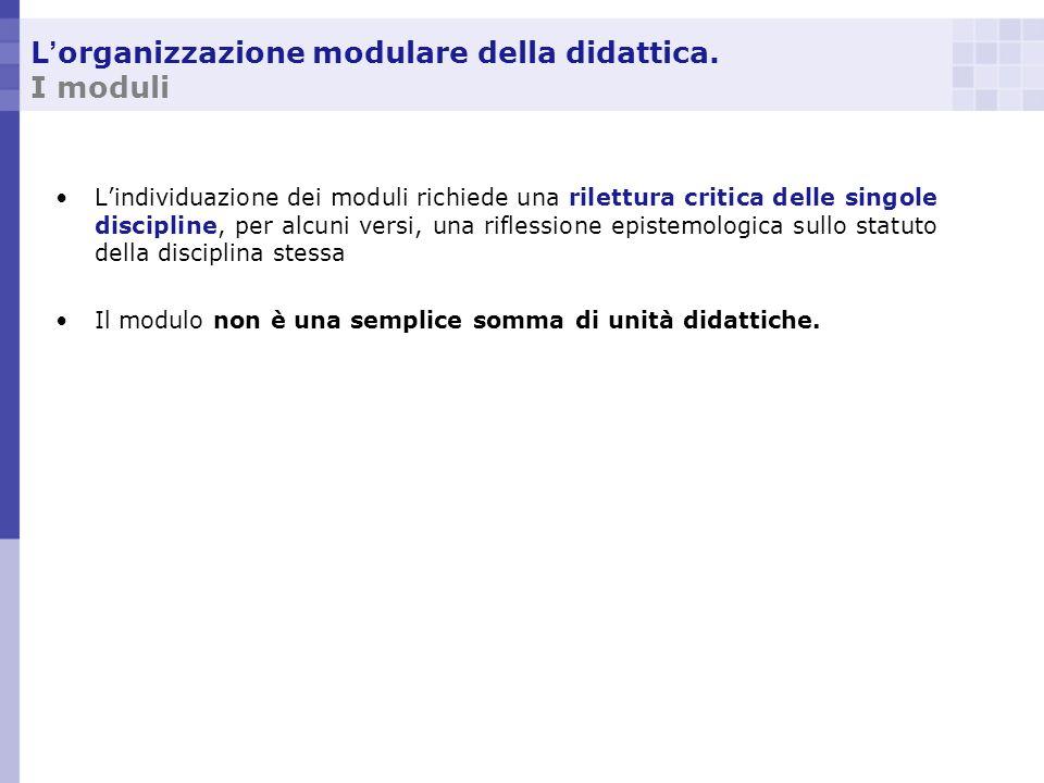L organizzazione modulare della didattica. I moduli Lindividuazione dei moduli richiede una rilettura critica delle singole discipline, per alcuni ver