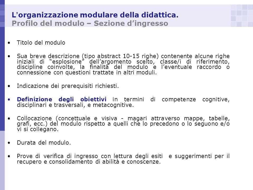 L organizzazione modulare della didattica. Profilo del modulo – Sezione dingresso Titolo del modulo Sua breve descrizione (tipo abstract 10-15 righe)