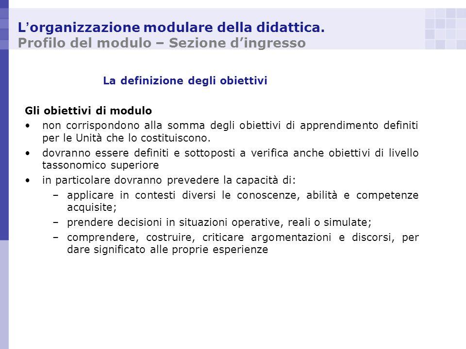 L organizzazione modulare della didattica. Profilo del modulo – Sezione dingresso La definizione degli obiettivi Gli obiettivi di modulo non corrispon