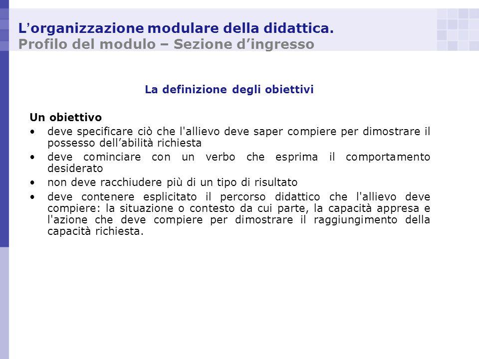 L organizzazione modulare della didattica. Profilo del modulo – Sezione dingresso La definizione degli obiettivi Un obiettivo deve specificare ciò che