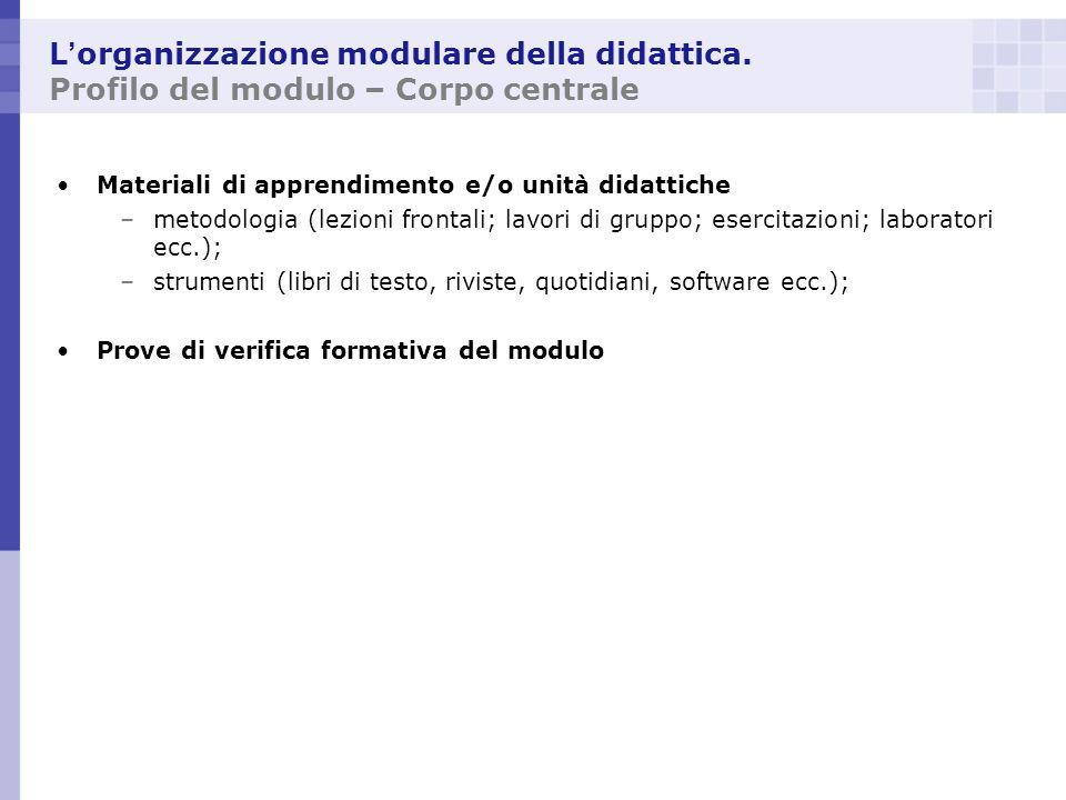 L organizzazione modulare della didattica. Profilo del modulo – Corpo centrale Materiali di apprendimento e/o unità didattiche –metodologia (lezioni f