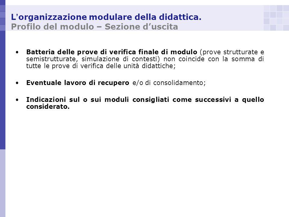 L organizzazione modulare della didattica. Profilo del modulo – Sezione duscita Batteria delle prove di verifica finale di modulo (prove strutturate e