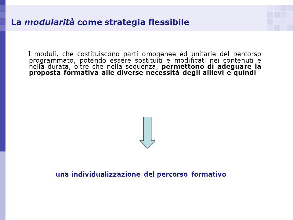 La modularità come strategia flessibile I moduli, che costituiscono parti omogenee ed unitarie del percorso programmato, potendo essere sostituiti e m