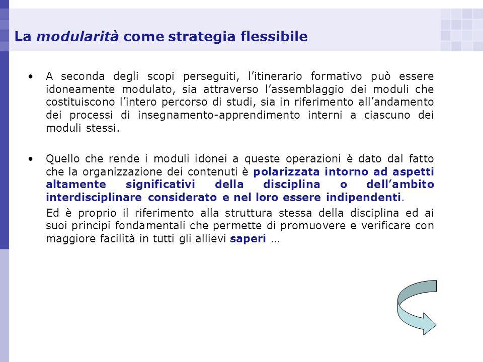 La modularità come strategia flessibile A seconda degli scopi perseguiti, litinerario formativo può essere idoneamente modulato, sia attraverso lassem