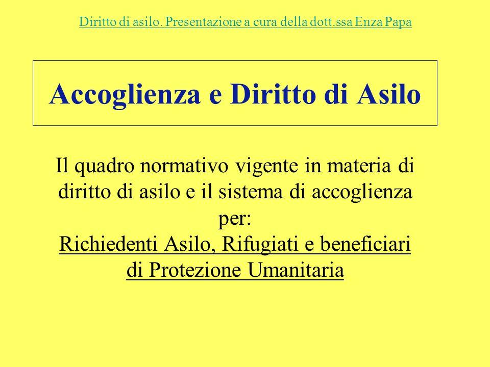 Accoglienza e Diritto di Asilo Diritto di asilo. Presentazione a cura della dott.ssa Enza Papa Il quadro normativo vigente in materia di diritto di as