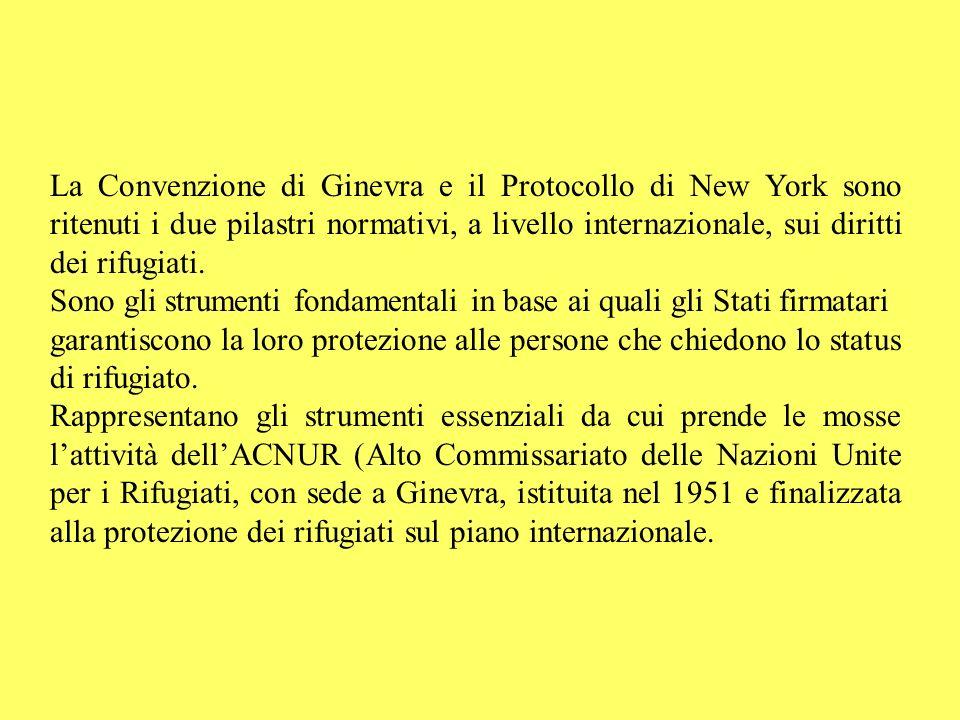 La Convenzione di Ginevra e il Protocollo di New York sono ritenuti i due pilastri normativi, a livello internazionale, sui diritti dei rifugiati. Son