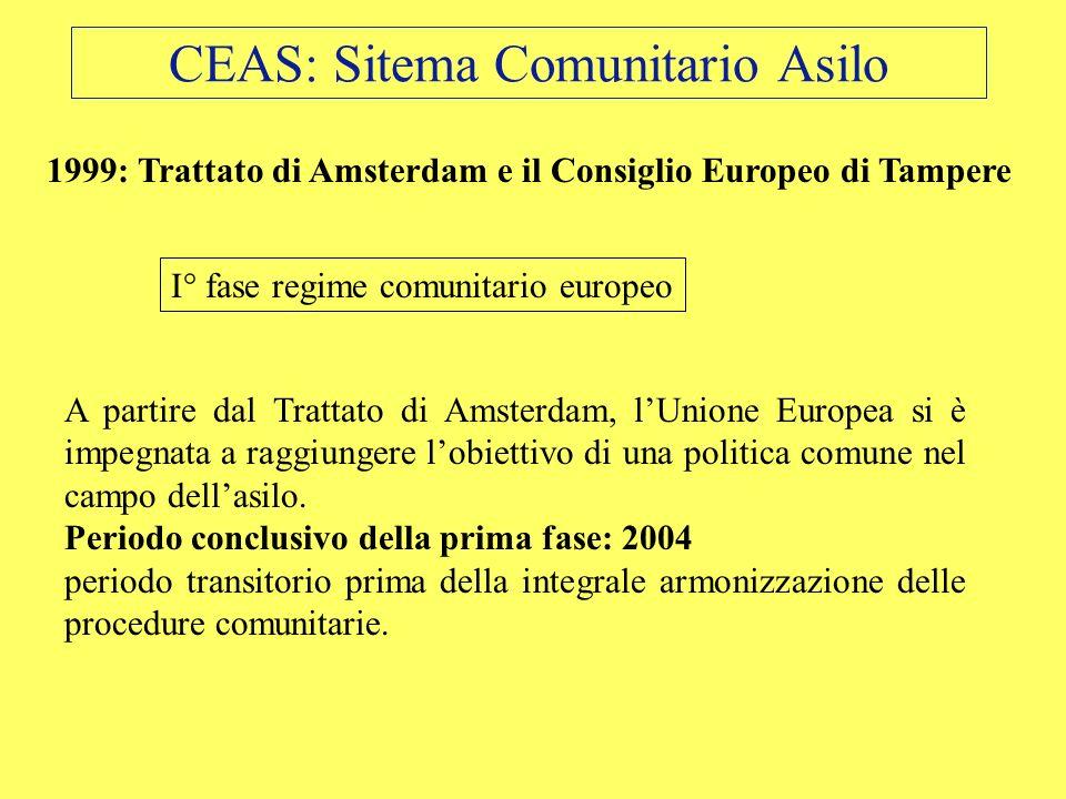 CEAS: Sitema Comunitario Asilo I° fase regime comunitario europeo 1999: Trattato di Amsterdam e il Consiglio Europeo di Tampere A partire dal Trattato
