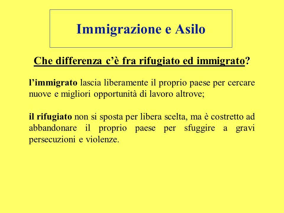 ? Che differenza cè fra rifugiato ed immigrato? limmigrato lascia liberamente il proprio paese per cercare nuove e migliori opportunità di lavoro altr
