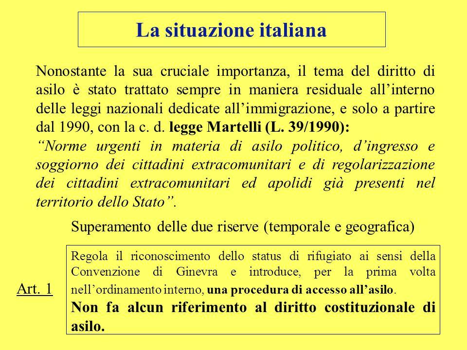La situazione italiana Nonostante la sua cruciale importanza, il tema del diritto di asilo è stato trattato sempre in maniera residuale allinterno del