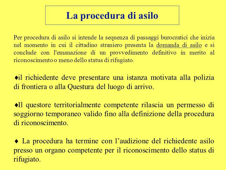 La procedura di asilo Per procedura di asilo si intende la sequenza di passaggi burocratici che inizia nel momento in cui il cittadino straniero prese