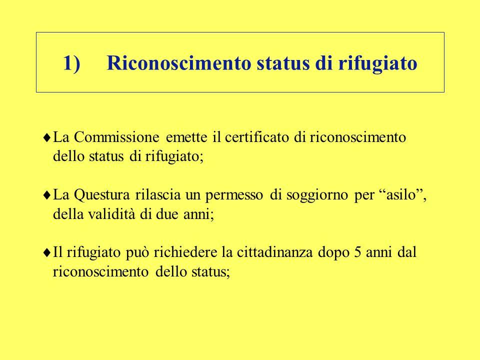 1)Riconoscimento status di rifugiato La Commissione emette il certificato di riconoscimento dello status di rifugiato; La Questura rilascia un permess