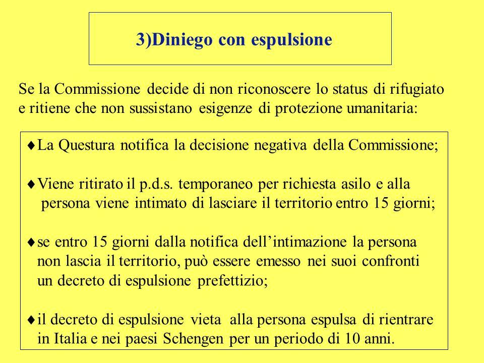 3)Diniego con espulsione Se la Commissione decide di non riconoscere lo status di rifugiato e ritiene che non sussistano esigenze di protezione umanit
