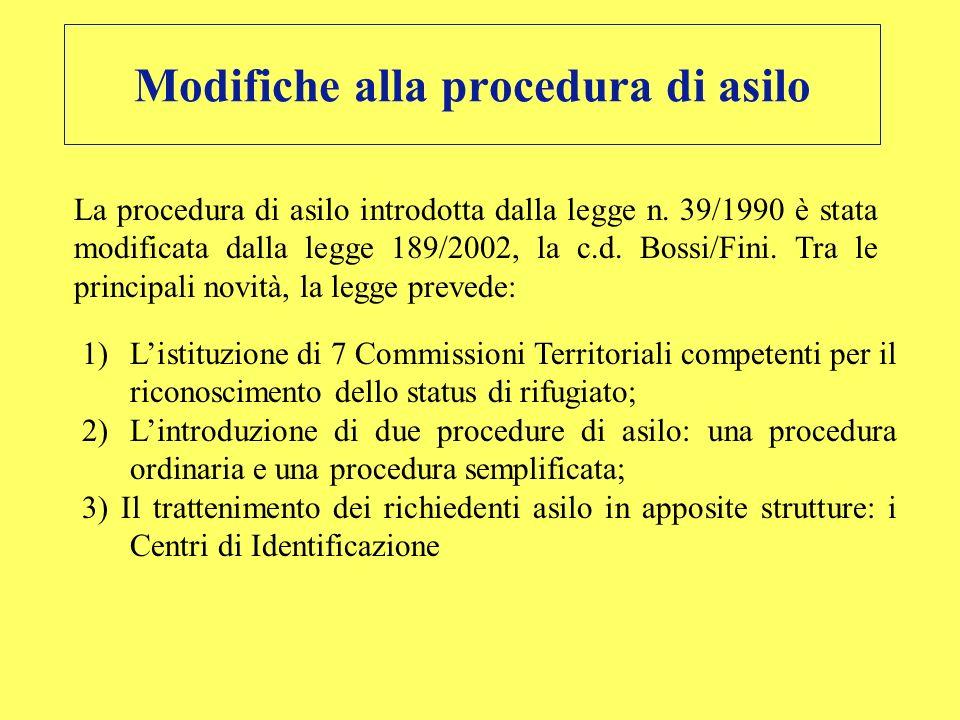 Modifiche alla procedura di asilo La procedura di asilo introdotta dalla legge n. 39/1990 è stata modificata dalla legge 189/2002, la c.d. Bossi/Fini.