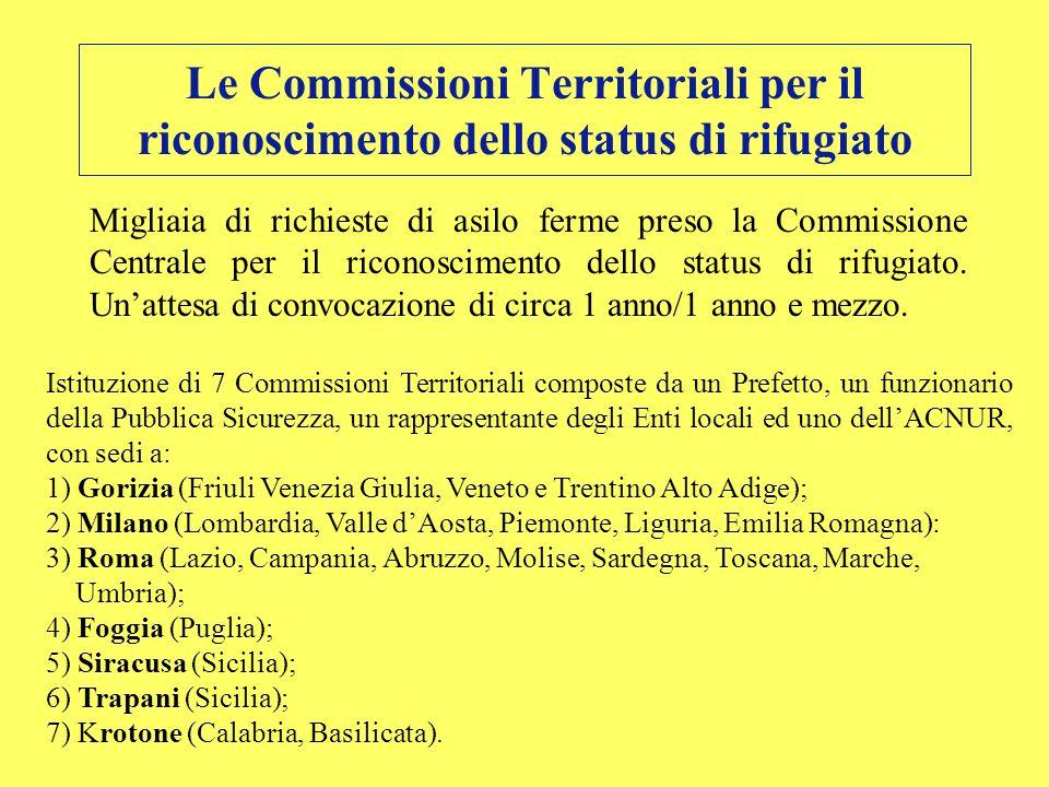 Le Commissioni Territoriali per il riconoscimento dello status di rifugiato Migliaia di richieste di asilo ferme preso la Commissione Centrale per il