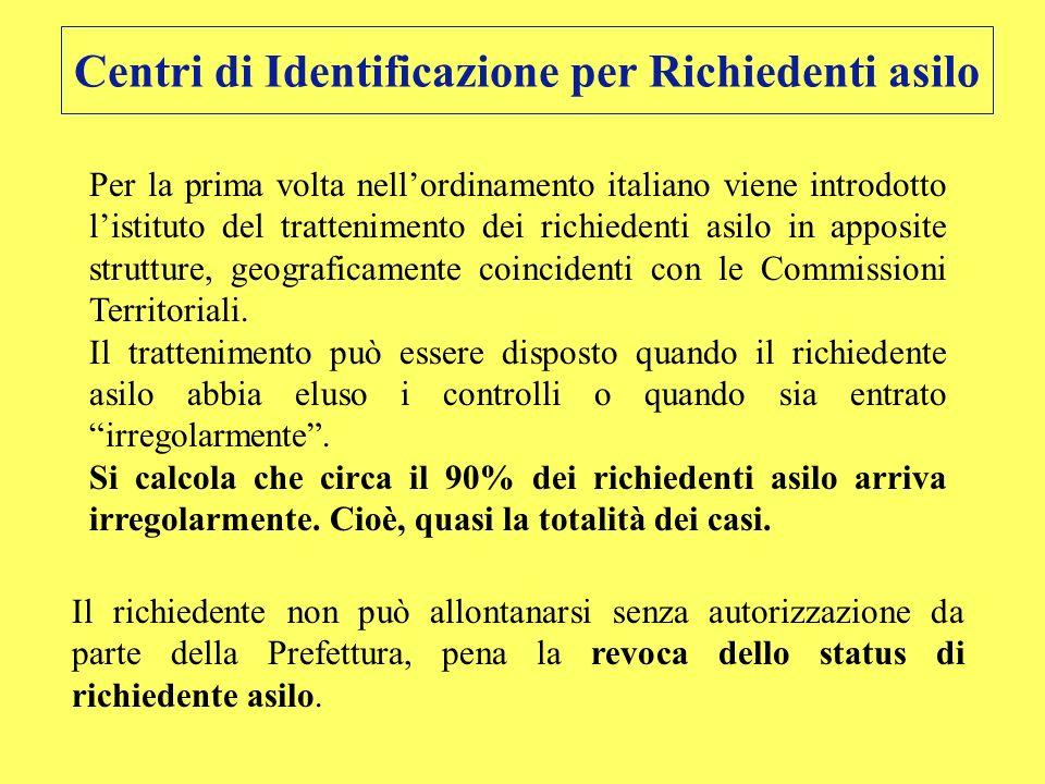 Centri di Identificazione per Richiedenti asilo Per la prima volta nellordinamento italiano viene introdotto listituto del trattenimento dei richieden
