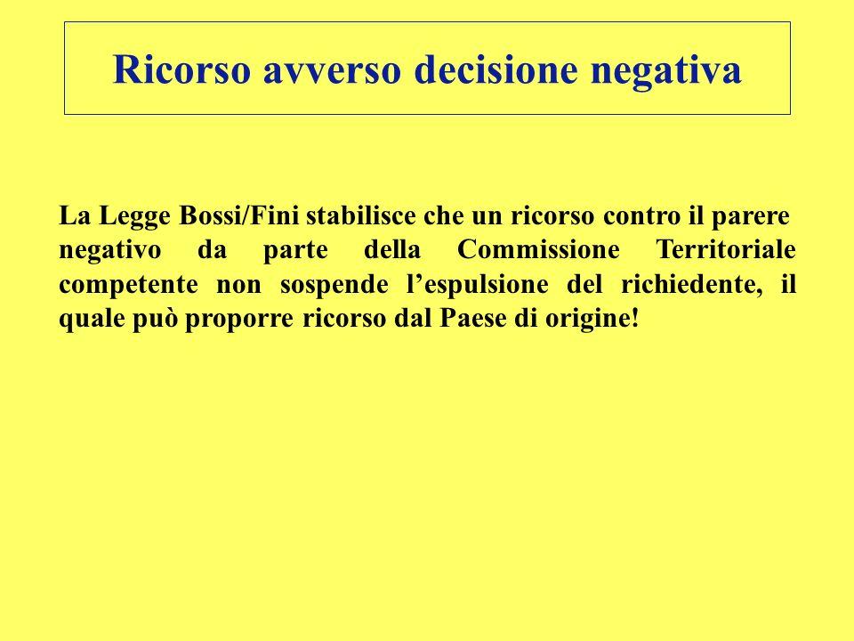 Ricorso avverso decisione negativa La Legge Bossi/Fini stabilisce che un ricorso contro il parere negativo da parte della Commissione Territoriale com