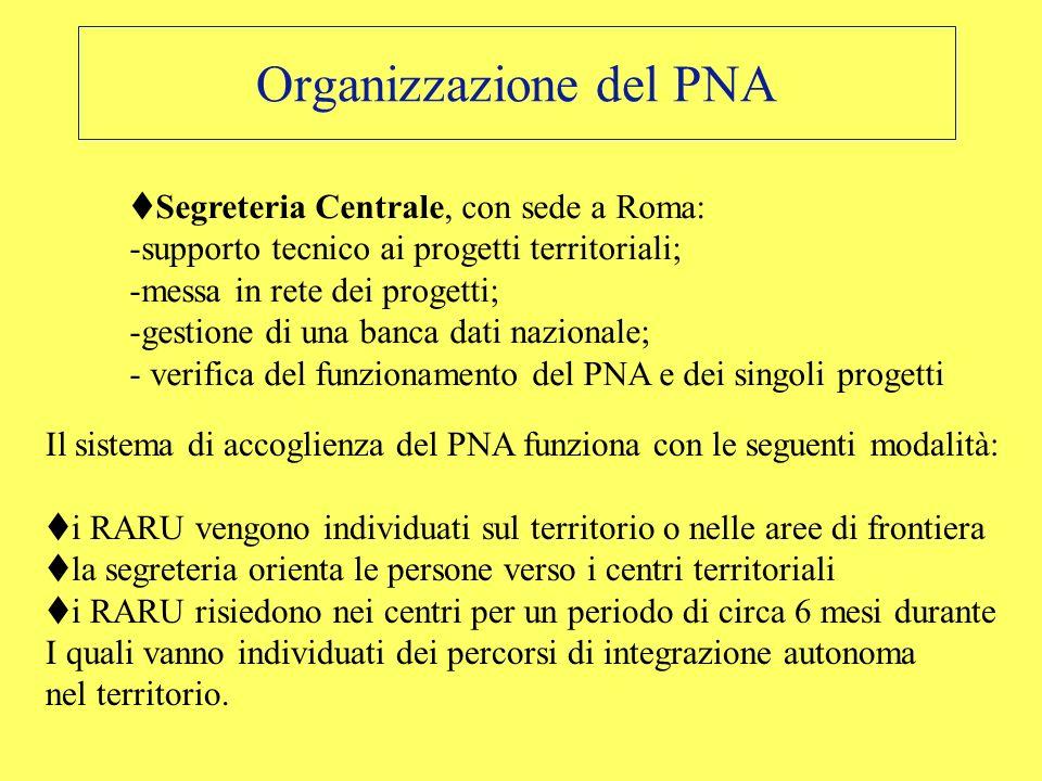Organizzazione del PNA Segreteria Centrale, con sede a Roma: -supporto tecnico ai progetti territoriali; -messa in rete dei progetti; -gestione di una