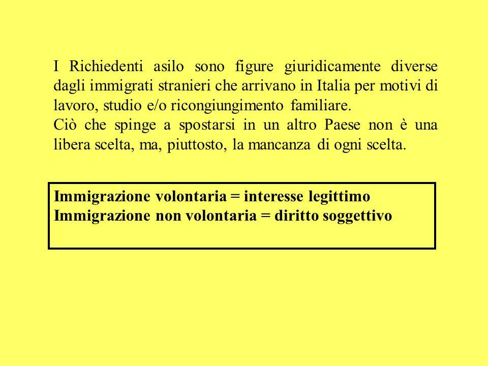 I Richiedenti asilo sono figure giuridicamente diverse dagli immigrati stranieri che arrivano in Italia per motivi di lavoro, studio e/o ricongiungime