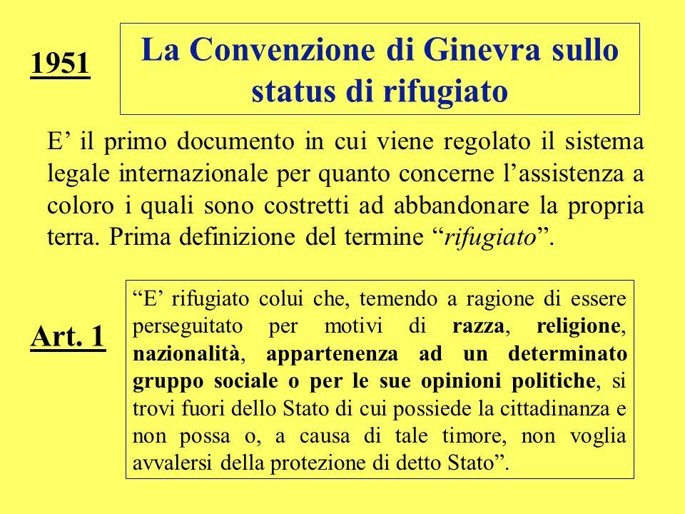 La Convenzione di Ginevra sullo status di rifugiato 1951 E il primo documento in cui viene regolato il sistema legale internazionale per quanto concer