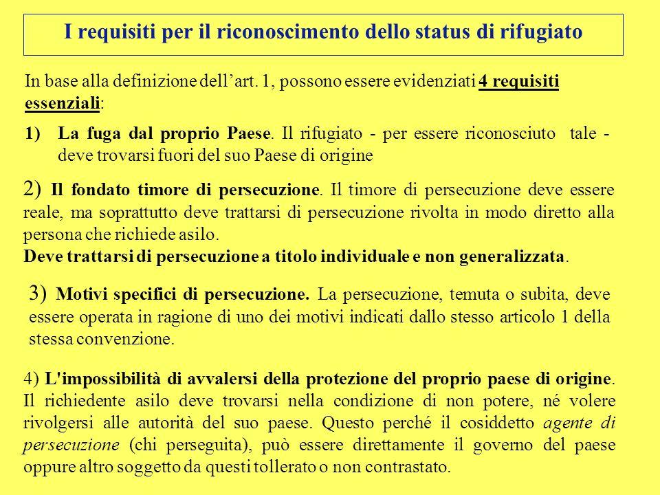 I requisiti per il riconoscimento dello status di rifugiato In base alla definizione dellart. 1, possono essere evidenziati 4 requisiti essenziali: 1)