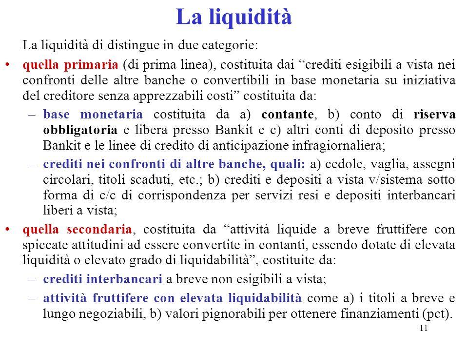 11 La liquidità La liquidità di distingue in due categorie: quella primaria (di prima linea), costituita dai crediti esigibili a vista nei confronti d