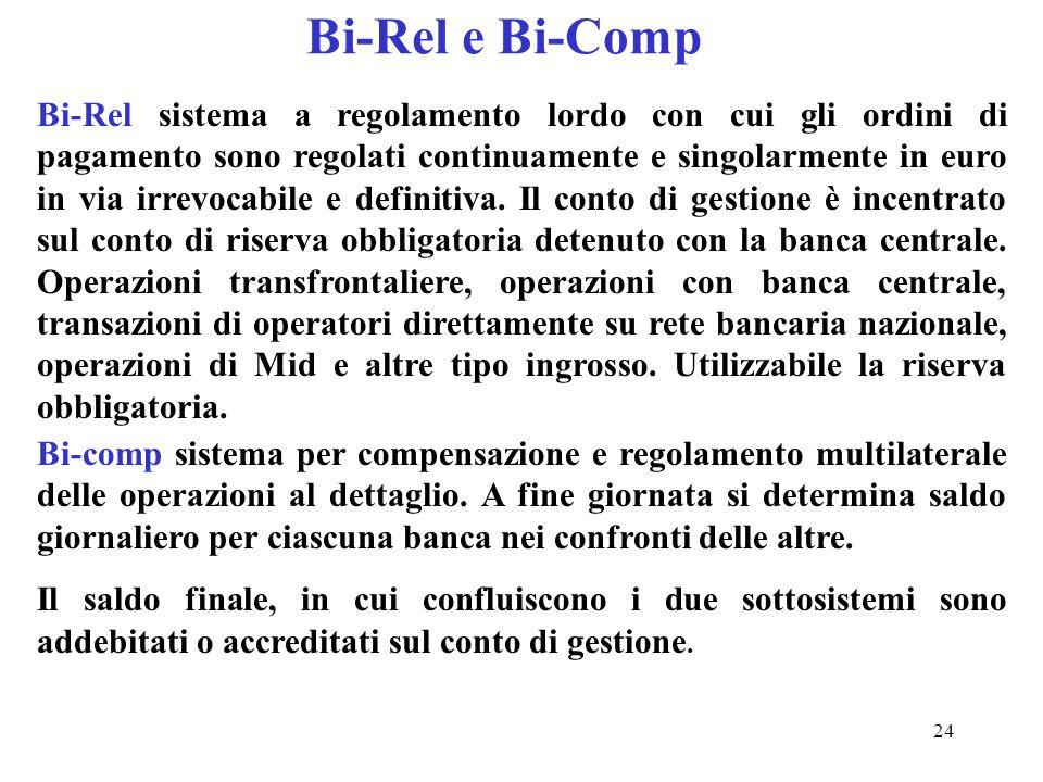 24 Bi-Rel e Bi-Comp Bi-Rel sistema a regolamento lordo con cui gli ordini di pagamento sono regolati continuamente e singolarmente in euro in via irre