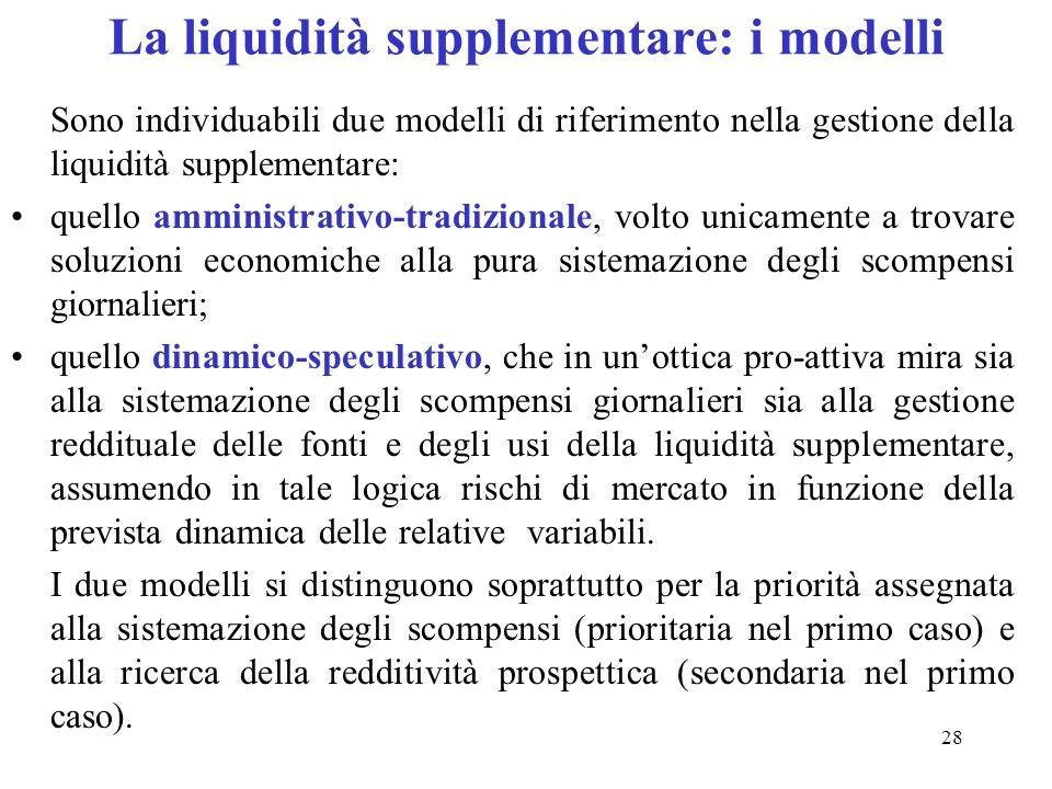 28 La liquidità supplementare: i modelli Sono individuabili due modelli di riferimento nella gestione della liquidità supplementare: quello amministra