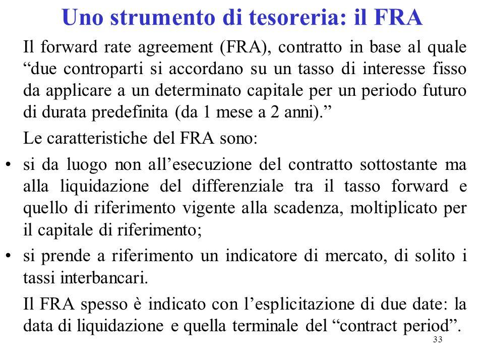 33 Uno strumento di tesoreria: il FRA Il forward rate agreement (FRA), contratto in base al quale due controparti si accordano su un tasso di interess