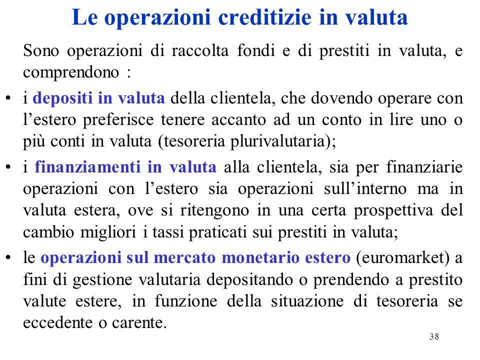 38 Le operazioni creditizie in valuta Sono operazioni di raccolta fondi e di prestiti in valuta, e comprendono : i depositi in valuta della clientela,