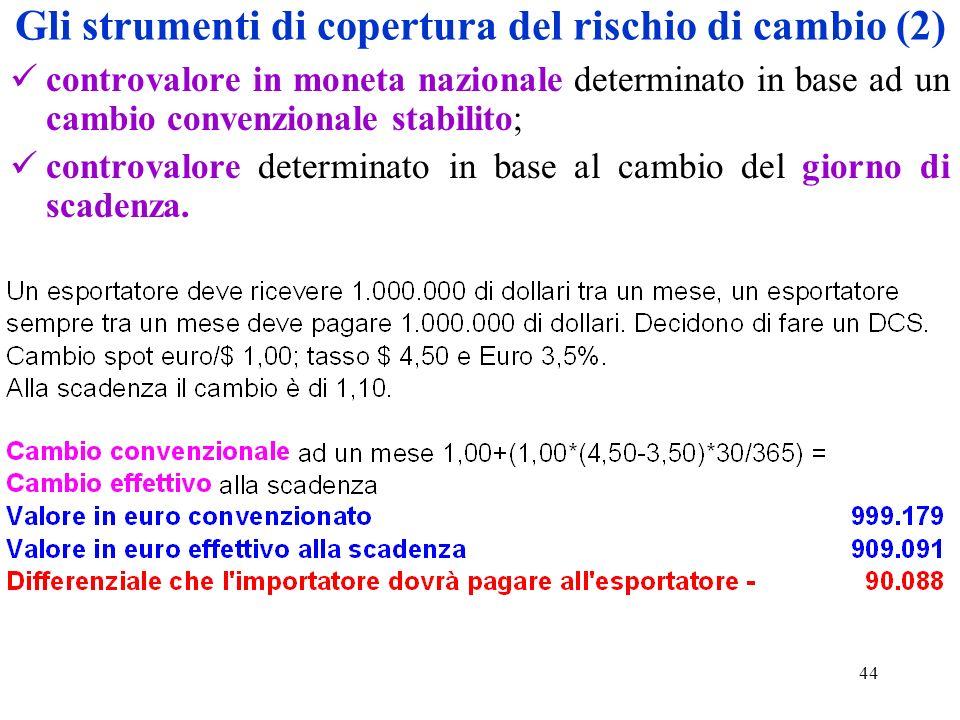 44 Gli strumenti di copertura del rischio di cambio (2) controvalore in moneta nazionale determinato in base ad un cambio convenzionale stabilito; con