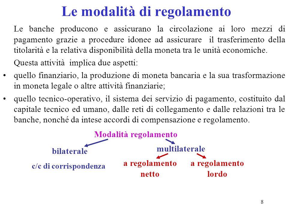 8 Le modalità di regolamento Le banche producono e assicurano la circolazione ai loro mezzi di pagamento grazie a procedure idonee ad assicurare il tr