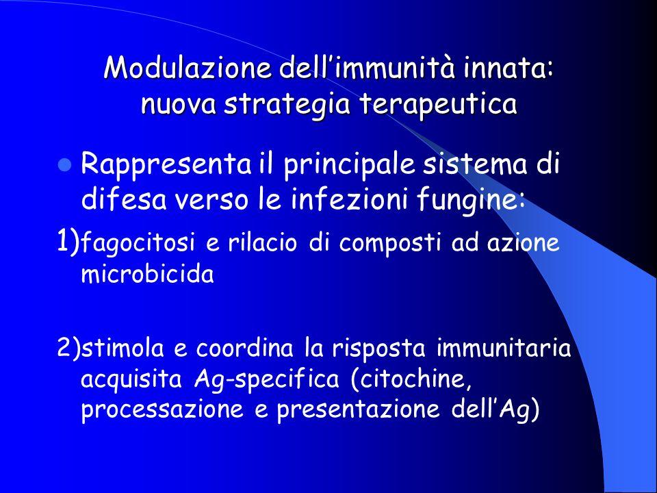 Modulazione dellimmunità innata: nuova strategia terapeutica Rappresenta il principale sistema di difesa verso le infezioni fungine: 1) fagocitosi e r