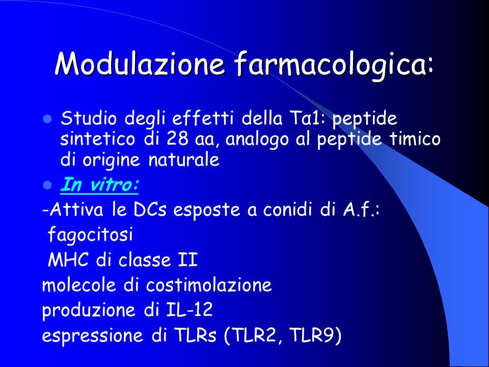 Modulazione farmacologica: Studio degli effetti della Tα1: peptide sintetico di 28 aa, analogo al peptide timico di origine naturale In vitro: -Attiva