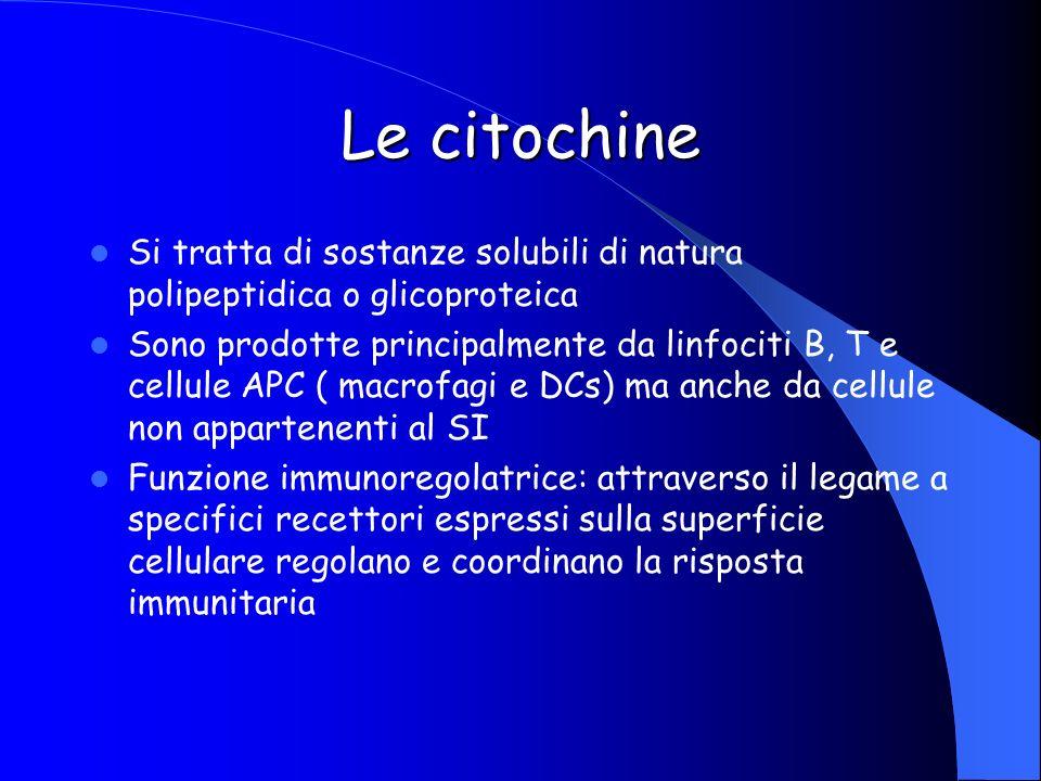 Le citochine Si tratta di sostanze solubili di natura polipeptidica o glicoproteica Sono prodotte principalmente da linfociti B, T e cellule APC ( mac