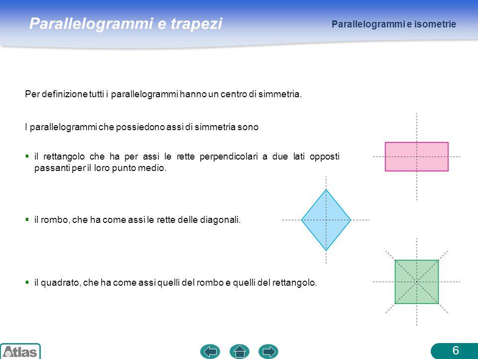 Parallelogrammi e trapezi Parallelogrammi e isometrie 6 Per definizione tutti i parallelogrammi hanno un centro di simmetria. il rettangolo che ha per