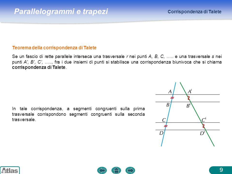 Parallelogrammi e trapezi Corrispondenza di Talete 10 Conseguenze del teorema di Talete nel caso dei triangoli Se per il punto medio di un lato di un triangolo si traccia la parallela ad un altro lato, questa taglia il terzo lato nel suo punto medio.