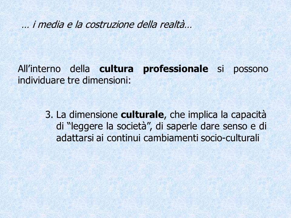 Allinterno della cultura professionale si possono individuare tre dimensioni: … i media e la costruzione della realtà… 3.La dimensione culturale, che