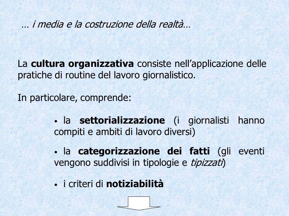 La cultura organizzativa consiste nellapplicazione delle pratiche di routine del lavoro giornalistico. … i media e la costruzione della realtà… la set