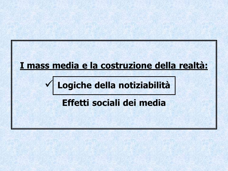 … le logiche della notiziabilità… Sono numerosi i fattori che influenzano la trasformazione di un evento in una notizia : le caratteristiche del mezzo la velocità di circolazione delle informazioni e la rapida obsolescenza delle notizie fattori contingenti (es.