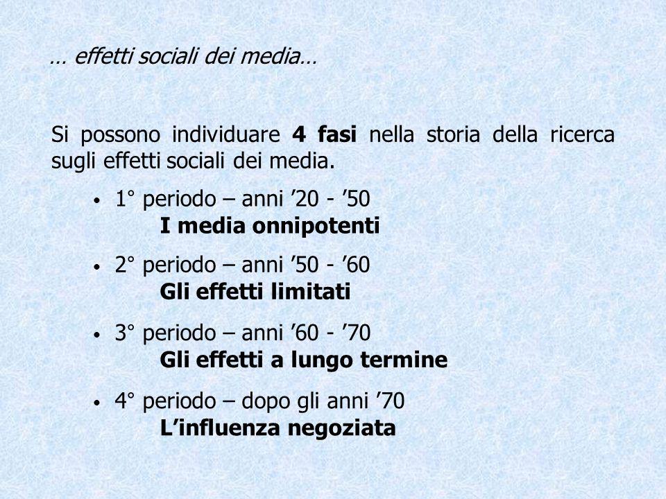 … effetti sociali dei media… Si possono individuare 4 fasi nella storia della ricerca sugli effetti sociali dei media. 1° periodo – anni 20 - 50 I med