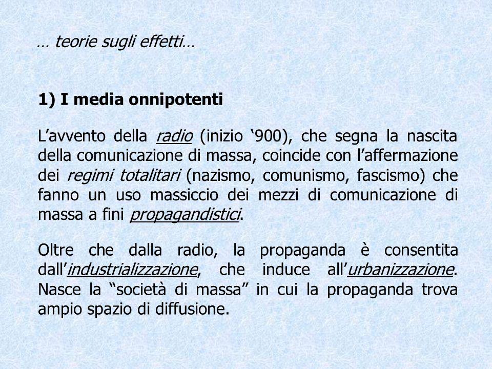 … teorie sugli effetti… 1) I media onnipotenti Lavvento della radio (inizio 900), che segna la nascita della comunicazione di massa, coincide con laff