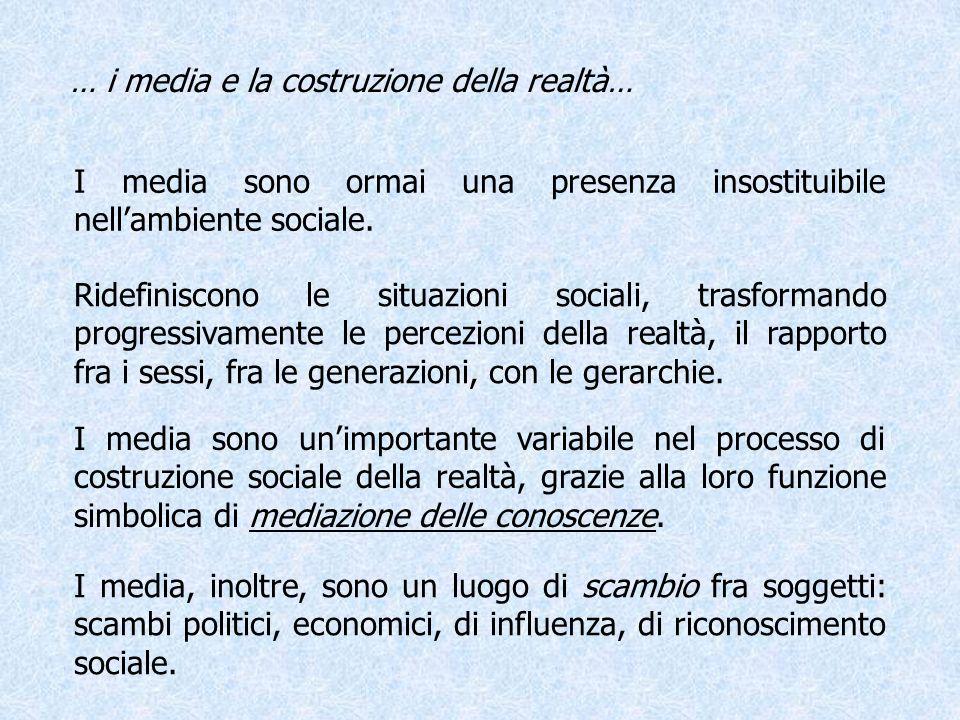 … i media e la costruzione della realtà… I media sono ormai una presenza insostituibile nellambiente sociale. Ridefiniscono le situazioni sociali, tra