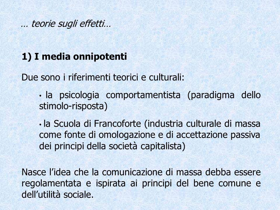 1) I media onnipotenti Due sono i riferimenti teorici e culturali: Nasce lidea che la comunicazione di massa debba essere regolamentata e ispirata ai