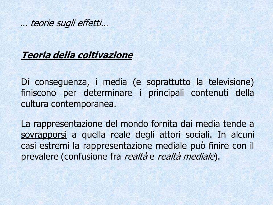 Teoria della coltivazione La rappresentazione del mondo fornita dai media tende a sovrapporsi a quella reale degli attori sociali. In alcuni casi estr