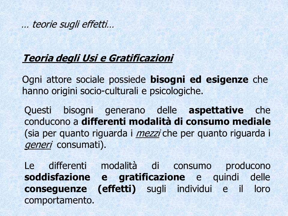 Teoria degli Usi e Gratificazioni Ogni attore sociale possiede bisogni ed esigenze che hanno origini socio-culturali e psicologiche. Questi bisogni ge